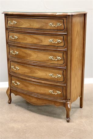 Scalloped Wood High Boy Dresser with glass top