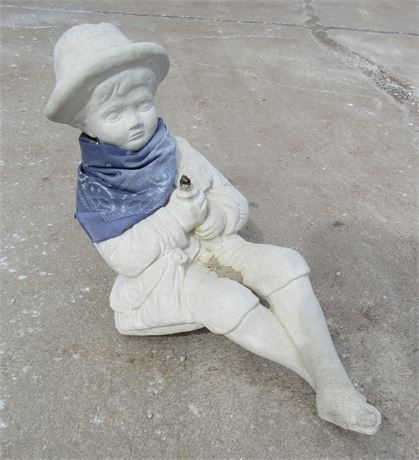 CAST STONE FISHING BOY