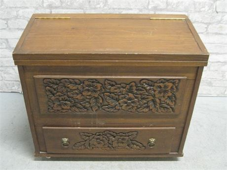 HAND-CRAFTED/CARVED CEDAR CHEST ON CASTERS