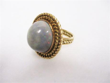 SIZE 6 GREY OPAL RING