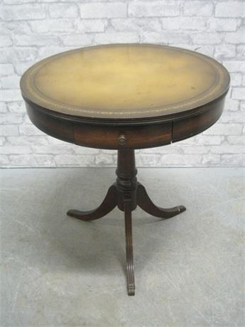VINTAGE FORBERT DRUM TABLE WITH A TOOLED LEATHER TOP