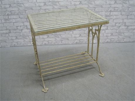 HEAVY ANITQUE'D WROUGHT IRON SIDE TABLE WITH GLASS TOP