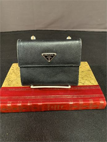 Prada Black Leather Compact bifold Card Wallet with Snap Coin Purse