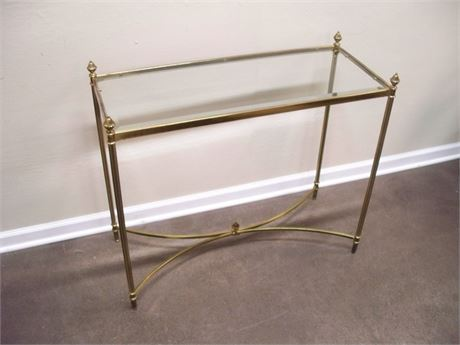 ANTIQUED BRASS FINISHED SOFA/CONSOLE TABLE WITH BEVELED GLASS TOP