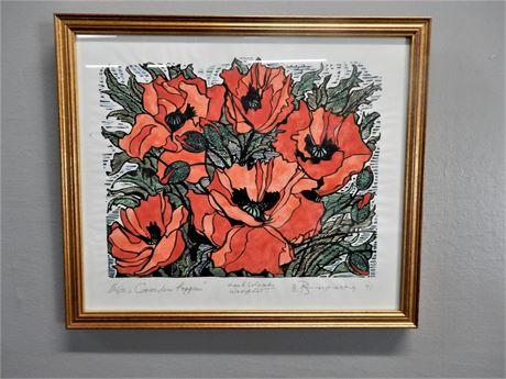 "Signed B. Borzensky ""Garden Poppies"" (5/50) Hand Colored Wood Cut"