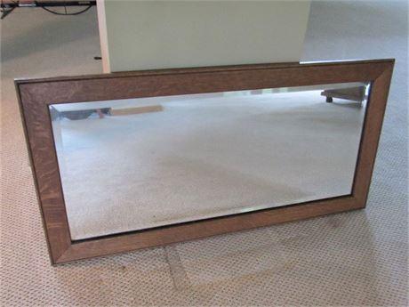 Vintage/Antique Beveled Glass Oak Framed Mirror