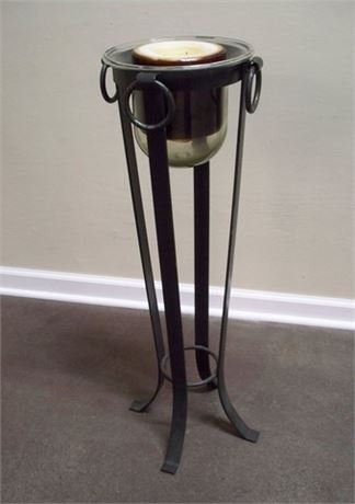 WROUGHT IRON PLANT STAND/PILLAR CANDLE HOLDER