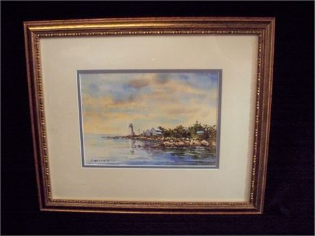 FRAMED DOUBLE MATTED AND SIGNED WATERCOLOR BY C. (CATHY) WELNER