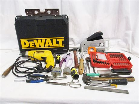 "LOT OF TOOLS FEATURING DEWALT 3/8"" ELECTRIC DRILL"