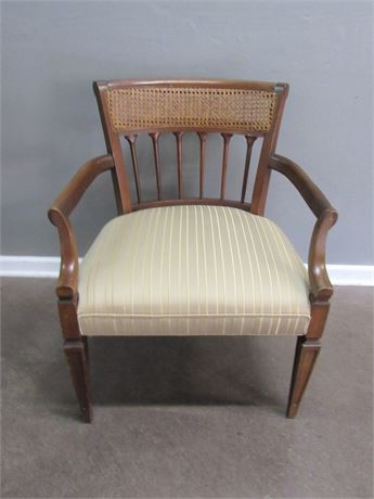 Cane-Back Occasional Chair with Upholstered Seat
