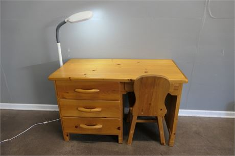Canadian Pioneer Handi Craft Desk, Chair and a Floor Lamp