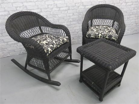 3-Piece Black Wicker Chairs/Table Set