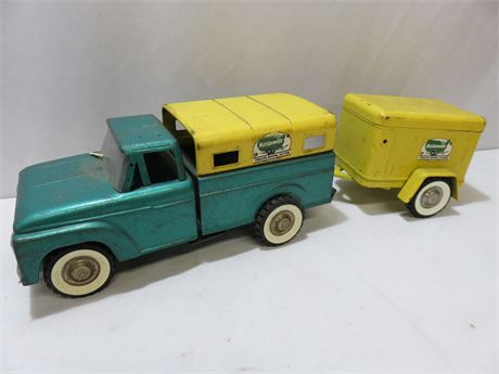 Vintage 1950s STRUCTO #500 Nationwide Rental Truck with Trailer