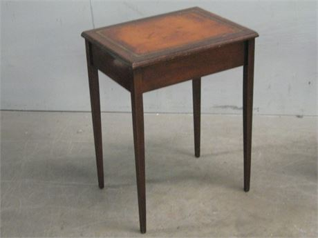 SMALL LEATHER TOP SIDE TABLE