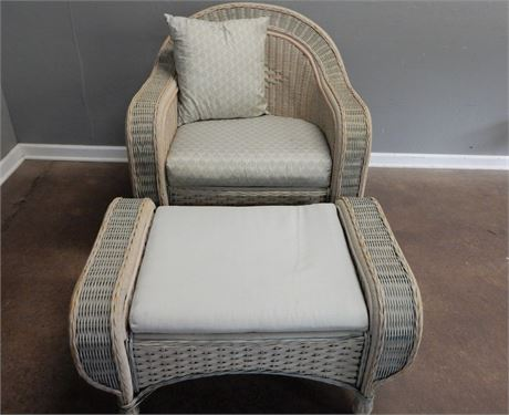 Outdoor Wicker Patio Chair and Ottoman