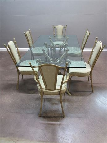 Great Looking Gold Finished Cast Metal Dining Table with Glass Top & 6 Chairs