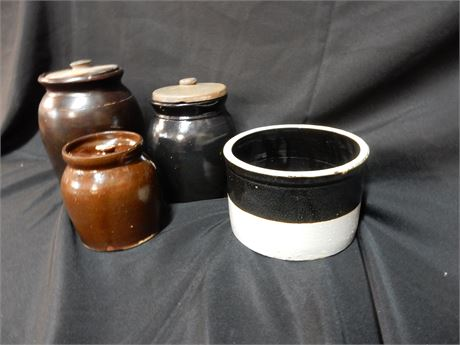 Four Vintage Clay Crocks