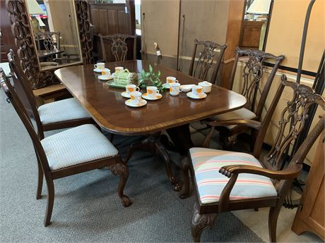 Inlaid Double Pedestal Table