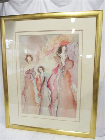"""""""THREE LADIES"""" BY BAZINET - LITHOGRAPH REPRODUCTION"""