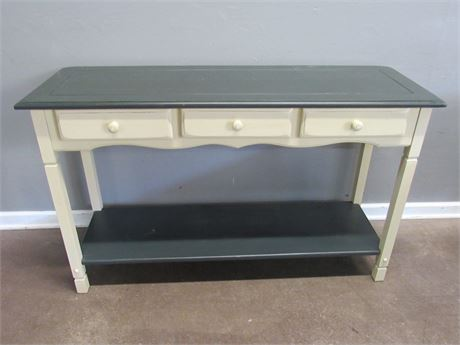 Country/Farmhouse Style Painted Console/Sofa Table with 3 Drawers and a Mirror