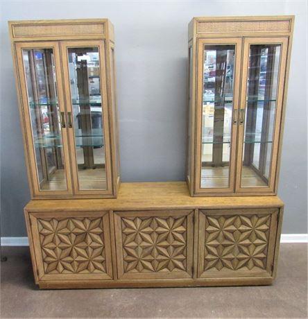Rare Vintage Mid Century Henredon Folio Three Buffet/Credenza w/Display Cabinets