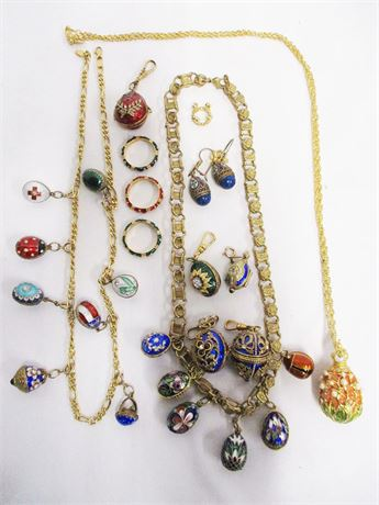 LOT OF EGG JEWELRY FEATURING JOAN RIVERS - SOME MARKED 14K GOLD