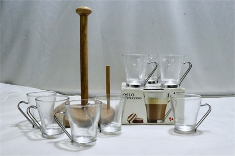 Kitchen Goods of Wooden Paper Towel Holder and Italian Coffee Cups