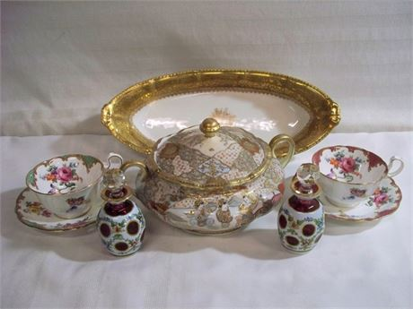 6 PIECE MISC. GLASS/CHINA LOT - INCLUDING LIMOGES & ANSLEY CHINA