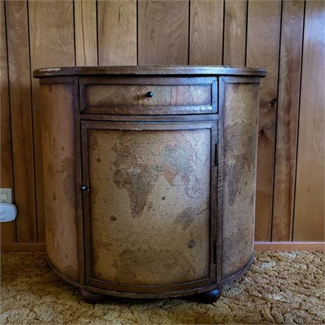 Old World Map Accent Cabinet