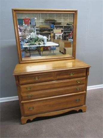 3 Drawer Maple Dresser with Mirror