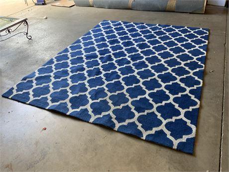 10 Ft. Blue and White Lattice Area Rug
