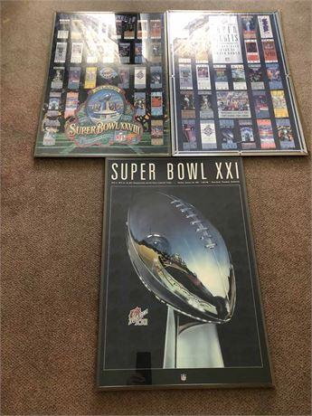 Super Bowl Framed Ticket Posters