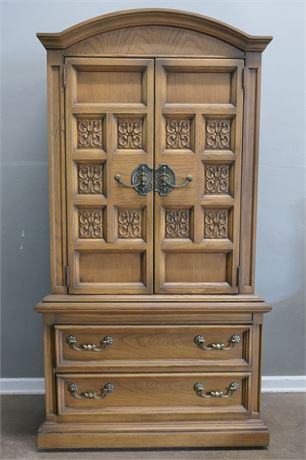 Engraved Wood Armoire on casters