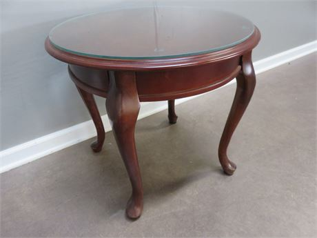 Queen Anne Round Cherry End Table