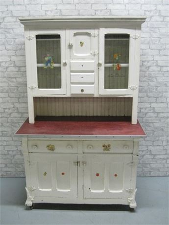 ANTIQUE WHITE PAINTED HUTCH WITH CLAW FEET ON CASTERS