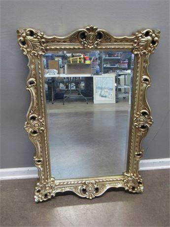 Ornate Gold Finished Beveled Glass Mirror