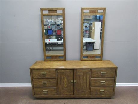 Vintage Drexel Heritage Woodbriar Collection Dresser with 2 Mirrors