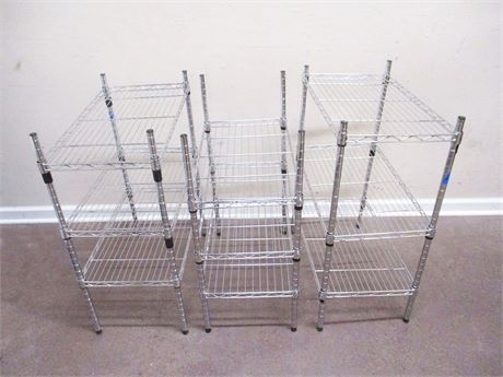LOT OF 3 SETS OF WIRE SHELVING