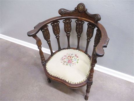 VINTAGE CARVED ARM CHAIR