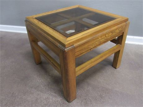 Small Oak Coffee Table Lattice Top with Smoked Beveled Glass Top