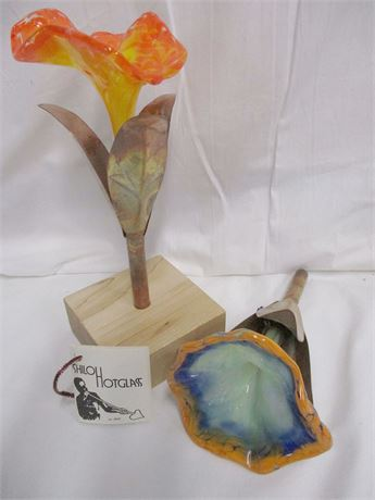 LOT OF ART GLASS LILIES BY SHILOH HOT GLASS
