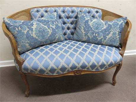 French Provincial Caned Loveseat