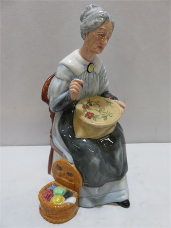 Vintage 1979 ROYAL DOULTON Embroidering Figurine