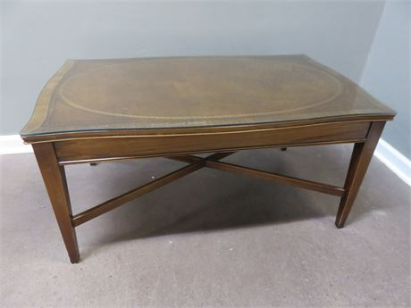 Tooled Leather Top Mahogany Coffee Table