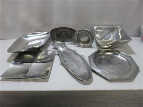 7-Piece Silverplate/Pewter Lot