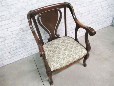 VINTAGE LYRE-BACK CARVED ARM CHAIR