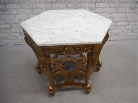ORNATE GOLD PAINTED SIDE/END TABLE WITH MARBLE TOP