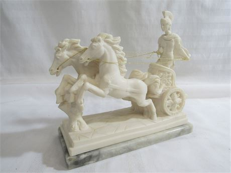 ROMAN SOLDIER AND CHARIOT SCULPTURE