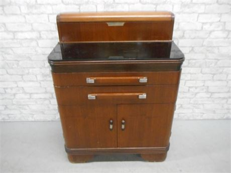 GREAT LOOKING  ART DECO HAMILTON - DONALD DESKEY WALNUT DENTAL CABINET