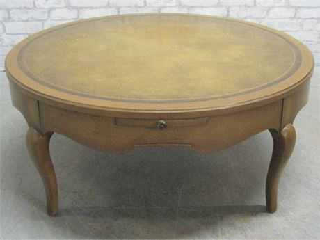 VINTAGE TOOLED LEATHER TOP COFFEE TABLE